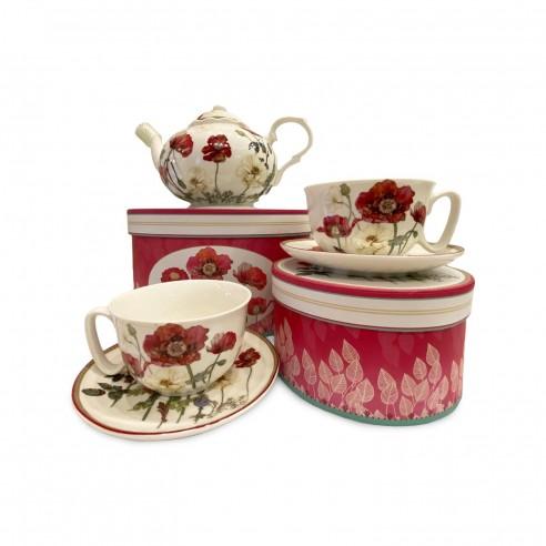 Neavita - Set 2 tazze con piattino Fleurs rouge